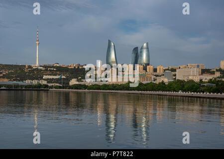 The Flame Towers seen from Baku's Boulevard Park in Baku,Azerbaijan - Stock Photo