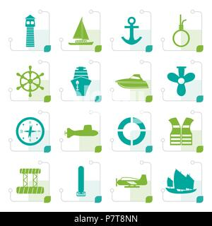 Stylized Simple Marine, Sailing and Sea Icons - Vector Icon Set - Stock Photo