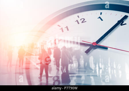 Business times concept people walking overlay with time clock - Stock Photo