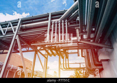 Industrial Pipe large factory gas power pipe line - Stock Photo