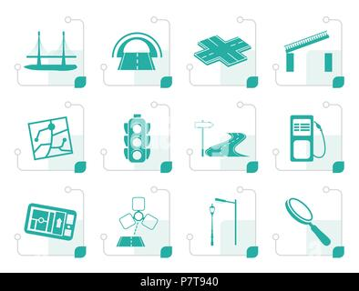 Stylized Road, navigation and travel icons - vector icon set - Stock Photo