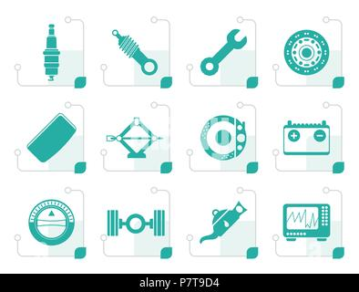 Stylized Realistic Car Parts and Services icons - Vector Icon Set 1 - Stock Photo