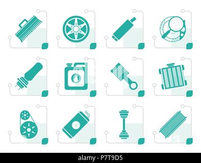 Stylized Realistic Car Parts and Services icons - Vector Icon Set 2 - Stock Photo
