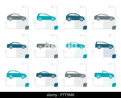 Stylized different types of cars icons - Vector icon set - Stock Photo