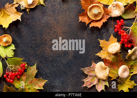 Autumn background with autumn maple red and orange leaves,  mushrooms and berries on  slate background. - Stock Photo