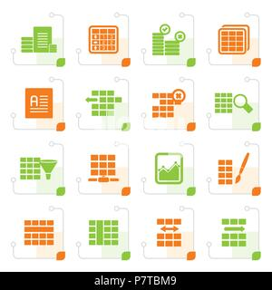 silhouette database and table formatting icons vector icon set