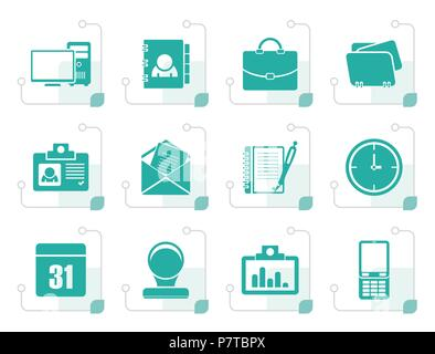 Stylized Web Applications, Business and Office icons, Universal icons - vector icon set - Stock Photo