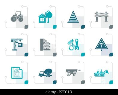 Stylized Construction and building Icons - vector icon set - Stock Photo