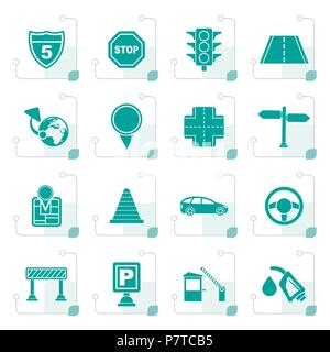 Stylized Traffic, road and travel icons - vector icon set - Stock Photo