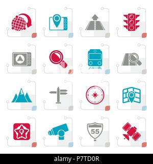 Stylized Map, navigation and Location Icons -vector icon set - Stock Photo