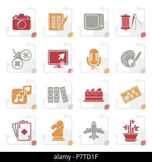 Stylized Hobbies and leisure Icons - vector icon set - Stock Photo
