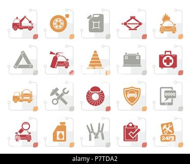 Stylized Roadside Assistance and tow  icons  - vector icon set - Stock Photo