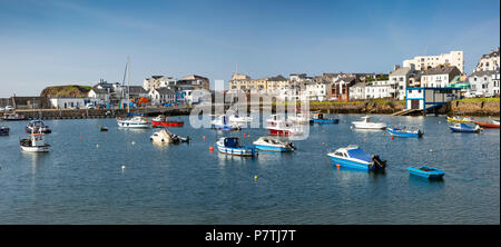 UK, Northern Ireland, Co Antrim, Portrush, boats moored in the harbour, panoramic - Stock Photo