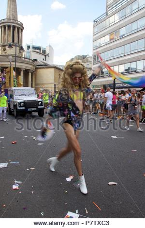 London, UK. 7th July 2018. Pride celebrations in London. A drag queen walking down the Pride of London 2018 Parade, joining more than 1 million attending the march today to celebrate LGBT+. Credit: Dimple Patel/Alamy Live News - Stock Photo