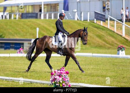 Alex Hua Tian riding Ballytiglea Vivendi. CHN. St James Place Barbury Horse Trials. Horse Trials.CIC*** Section B. Dressage. Barbury Castle. Wroughton. Somerset. UK. Day 2. 06/07/2018. - Stock Photo