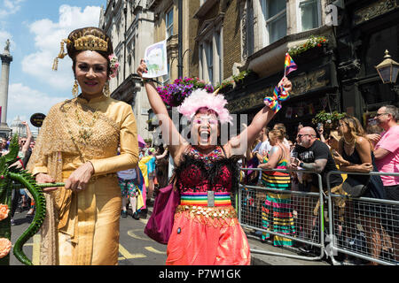 London, UK. 7th July, 2018. Revellers take part in the Pride in London parade. The annual festival attracts hundreds of thousands of people to the streets of the British capital to celebrate the LGBT+ community. Credit: Wiktor Szymanowicz/Alamy Live News - Stock Photo