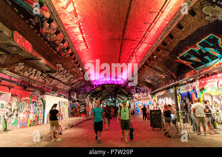 London, 7th July 2018. Several performances and installations are arranged in the illuminated Leake Street Tunnel, an art and graffiti space underneath Waterloo Rail. Art Night 2018 features 12 special projects curated by Hayward Gallery and over 50 presented in Art Night Open curated by cultural organisations and creatives throughout South Bank, Vauxhall and Nine Elms. Credit: Imageplotter News and Sports/Alamy Live News - Stock Photo