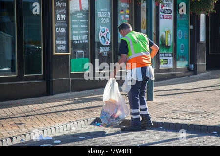 Blackpool, Lancashire, UK. 8th July, 2018.  Big clean-up after a night of celebration. England's win gives the north-west economy a boost with bars and eatery's enjoying a business boom as the town celebrates. Credit: MediaWorldImages/Alamy Live News - Stock Photo