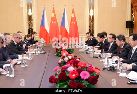 Sofia, Bulgaria. 7th July, 2018. Chinese Premier Li Keqiang meets with his Czech counterpart Andrej Babis in Sofia, Bulgaria, July 7, 2018. Credit: Ding Haitao/Xinhua/Alamy Live News - Stock Photo