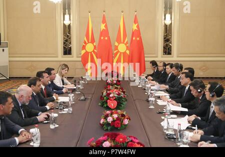 Sofia, Bulgaria. 7th July, 2018. Chinese Premier Li Keqiang meets with his Macedonian counterpart Zoran Zaev in Sofia, Bulgaria, July 7, 2018. Credit: Liu Weibing/Xinhua/Alamy Live News - Stock Photo
