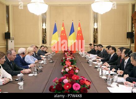 Sofia, Bulgaria. 7th July, 2018. Chinese Premier Li Keqiang meets with Romanian Prime Minister Viorica Dancila in Sofia, Bulgaria, July 7, 2018. Credit: Liu Weibing/Xinhua/Alamy Live News - Stock Photo