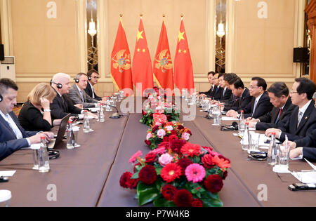Sofia, Bulgaria. 7th July, 2018. Chinese Premier Li Keqiang meets with his counterpart from Montenegro, Dusko Markovic, in Sofia, Bulgaria, July 7, 2018. Credit: Ding Haitao/Xinhua/Alamy Live News - Stock Photo