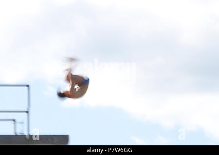 Bolzano, Italy. 07th, Jul 2018. Rogava Sandro from Russia competes in the Men's 10m Platform Diving Semi-Final on day two at Bolzano Lido, during 24th FINA Diving Grand Prix in Bolzano, Italy, 07 July 2018. (PHOTO) Alejandro Sala/Alamy Live News - Stock Photo