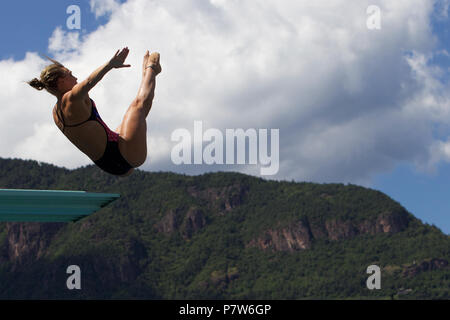 Bolzano, Italy. 07th, Jul 2018. Blagg Alice from Great Britain competes in the Women's 3m Springboard Diving Semi-Final on day two at Bolzano Lido, during 24th FINA Diving Grand Prix in Bolzano, Italy, 07 July 2018. (PHOTO) Alejandro Sala/Alamy Live News - Stock Photo