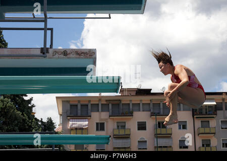 Bolzano, Italy. 07th, Jul 2018. Maccool Ashley from Canada competes in the Women's 3m Springboard Diving Semi-Final on day two at Bolzano Lido, during 24th FINA Diving Grand Prix in Bolzano, Italy, 07 July 2018. (PHOTO) Alejandro Sala/Alamy Live News - Stock Photo