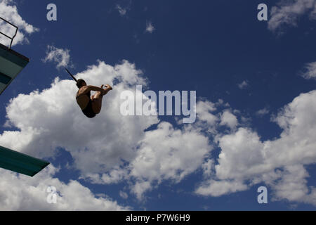Bolzano, Italy. 07th, Jul 2018. Billota Laura from Italy competes in the Women's 3m Springboard Diving Semi-Final on day two at Bolzano Lido, during 24th FINA Diving Grand Prix in Bolzano, Italy, 07 July 2018. (PHOTO) Alejandro Sala/Alamy Live News - Stock Photo
