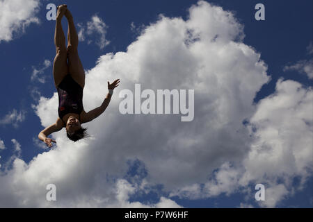 Bolzano, Italy. 07th, Jul 2018. Xiahoui Huang from China competes in the Women's 3m Springboard Diving Semi-Final on day two at Bolzano Lido, during 24th FINA Diving Grand Prix in Bolzano, Italy, 07 July 2018. (PHOTO) Alejandro Sala/Alamy Live News - Stock Photo