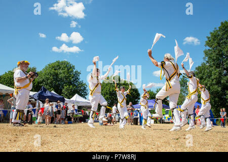 Cheshire, UK. Cheshire, UK. 08 July 2018Stockton Heath Festival in Cheshire, England, UK, held their eleventh fete on the events field where hundreds of people braved the heatwave and enjoyed themselves Credit: John Hopkins/Alamy Live News Credit: John Hopkins/Alamy Live News - Stock Photo