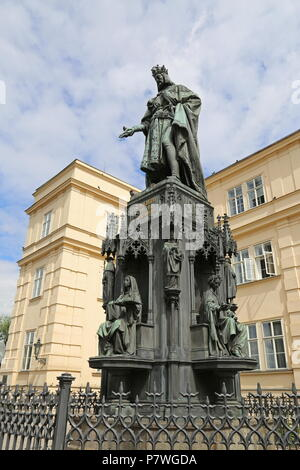 Statue of Charles IV, Knights of the Cross Square, Staré Město (Old Town), Prague, Czechia (Czech Republic), Europe - Stock Photo