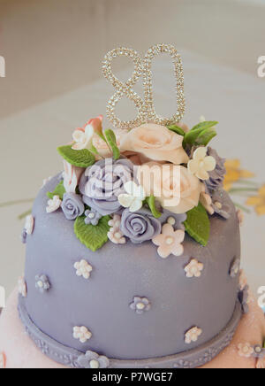 Two Tier Decorated 80th Birthday Cake Stock Photo 211388751