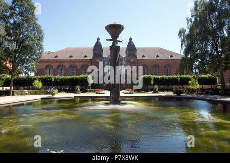 The pool in the Royal Library Garden - Det Kongelige Biblioteks Have - Copenhagen Denmark - Stock Photo
