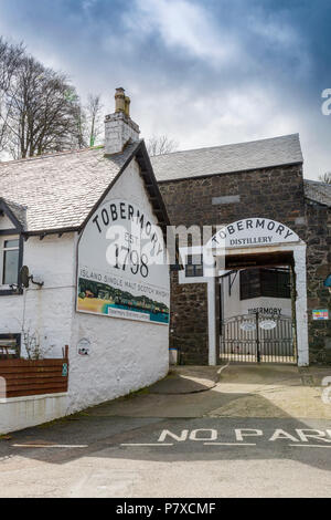 The historic Tobermory whisky diistillery, Isle of Mull, Argyll and Bute, Scotland, UK - Stock Photo