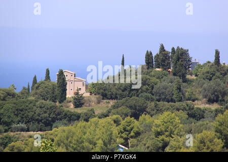 View of Metaxata village and the Ionoian Sea from the village of Korkoumelata in Kefalonia, GREECE, PETER GRANT - Stock Photo