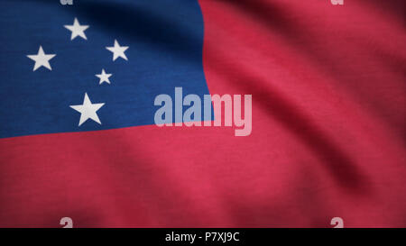 Samoa flag waving in the wind. Background with rough textile texture. A beautiful satin finish looping flag animation of Samoa. Animation loop - Stock Photo