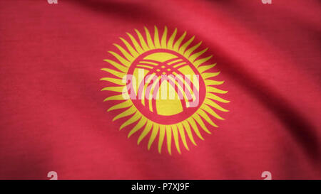 Kyrgyzstan flag waving animation. Seamless Loopable Flag of Kyrgyzstan. Full Screen. Symbol of the country - Stock Photo