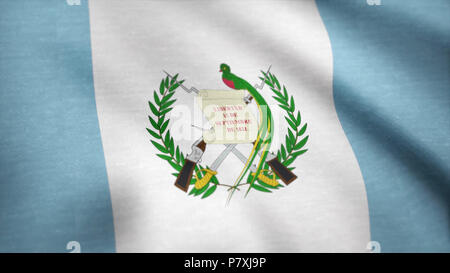 Waving flag of Guatemala, seamless loop. Exact size, blue background. Flag of Guatemala. Rendered using official design and colors. Seamless loop - Stock Photo
