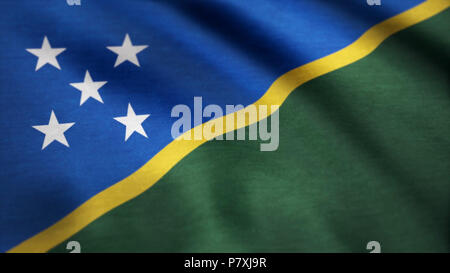 Solomon Islands flag waving in the wind. Background with rough textile texture. 4K Seamless Loopable Flag of Solomon Islands. Animation loop - Stock Photo