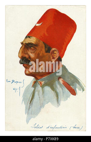 French historical postcard: portrait of Turkish infantry soldier. A man with a mustache in a high red FEZ. world war one 1914-1918.  Ottoman empire - Stock Photo