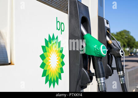 BP gas station. BP is a British multinational oil and gas company headquartered in London, England. - Stock Photo