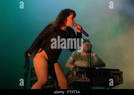 BARCELONA - MAY 31: Sylvan Esso (band) perform in concert at Primavera Sound Festival on May 31, 2018 in Barcelona, Spain. - Stock Photo