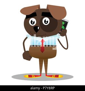 Cartoon illustrated business dog talking on cell phone. - Stock Photo