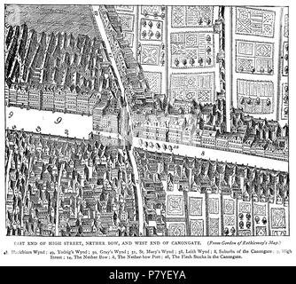 English: from James Grant's Old And New Edinburgh (1880), based on Gordon of Rothiemay's map (1647) . 18 November 2012, 11:18:56 285 Netherbow Port - Stock Photo