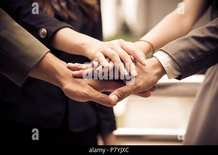 Business people Hands Assemble Corporate in Meeting and Teamwork concept. Group of teamwork and cooperation theme. together teamwork - Stock Photo