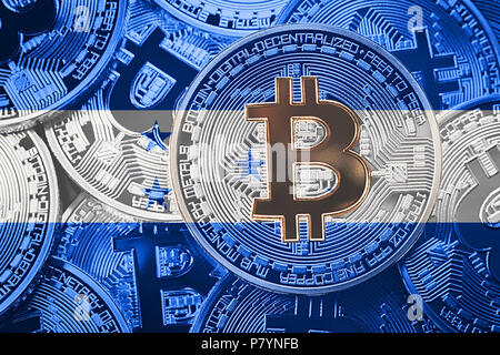 Stack of Bitcoin Honduras flag. Bitcoin cryptocurrencies concept. BTC background. - Stock Photo