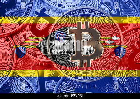 Stack of Bitcoin Swaziland flag. Bitcoin cryptocurrencies concept. BTC background. - Stock Photo