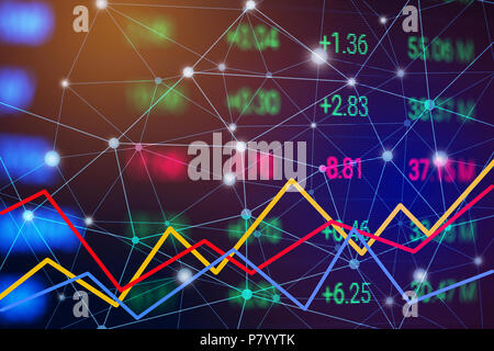 Stock market chart with line graph. Trend chart of bullish and bearish. Financial and Business Investment trading concept. Money currency and cryptocu - Stock Photo